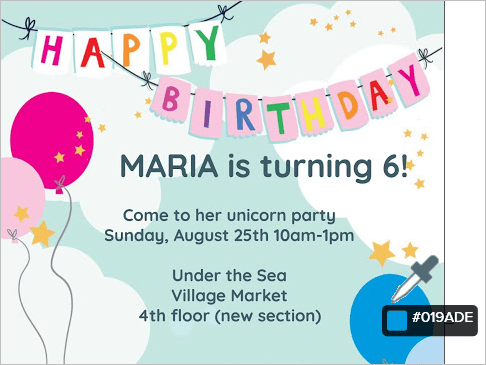 Birthday invitation with eyedropper displaying hex code for blue balloon