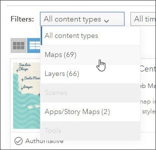 Maps content filter