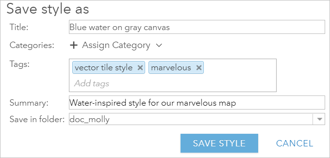 Filled-in fields in Save style as window