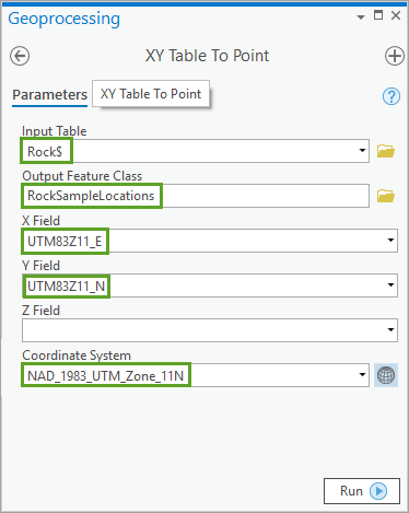 XY Table To Point tool
