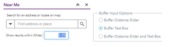 Near Me buffer input options