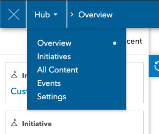 Settings menu option in Hub dropdown