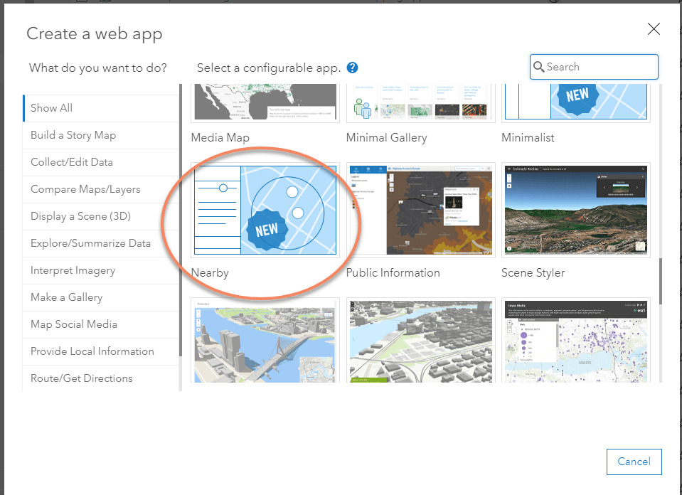 Nearby selected in the Configurable Apps tab of the Create a New Web App window.
