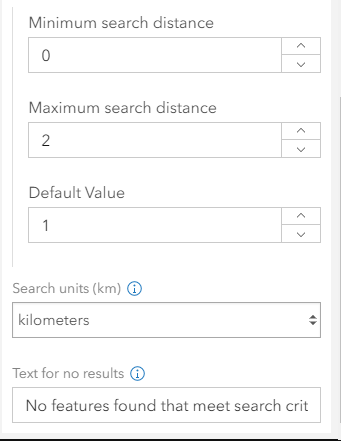 Search slider settings in the configuration panel