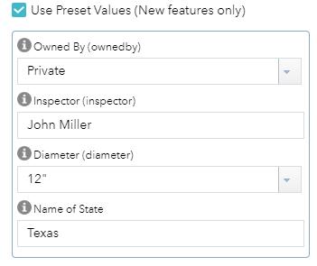 Preset values