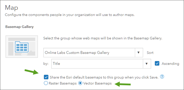 Basemap Gallery settings