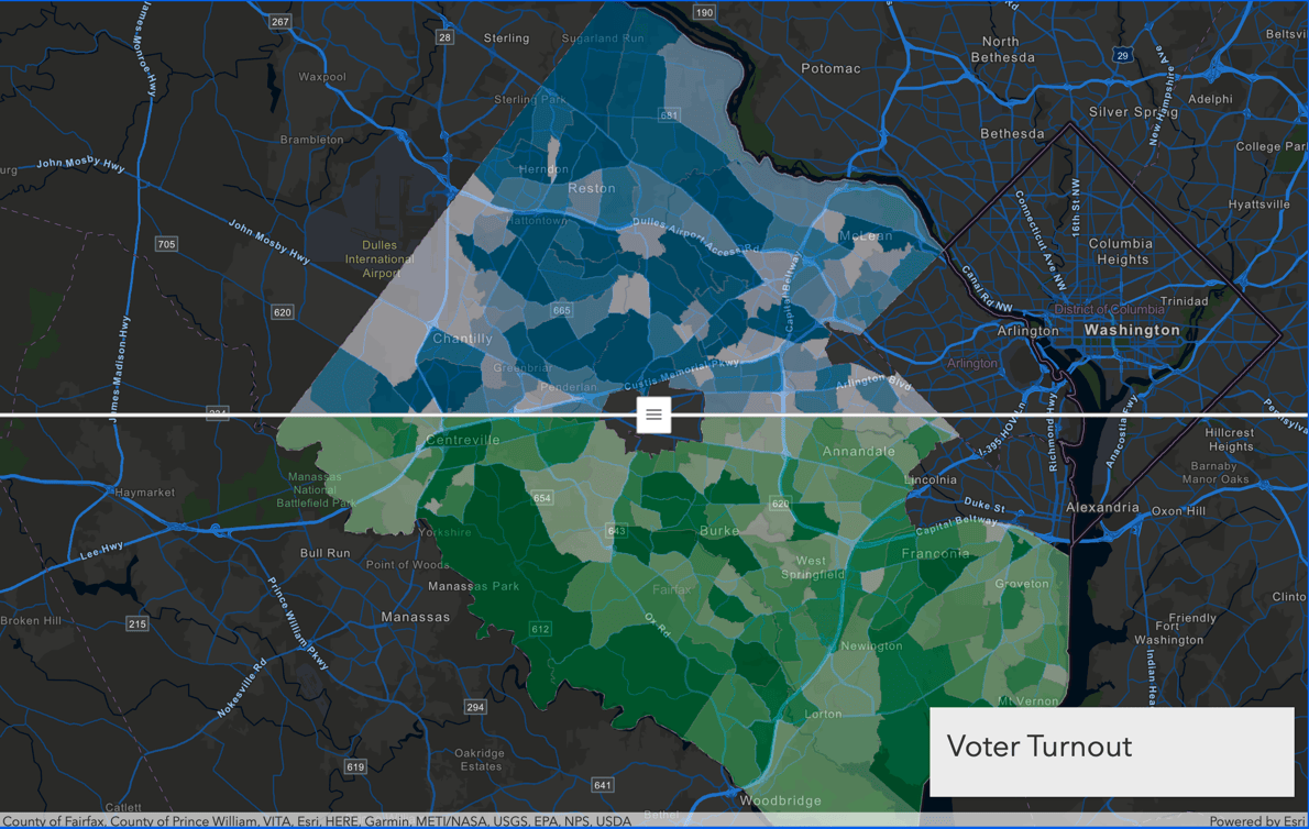 This is a swipe example image that uses voter turnout data.