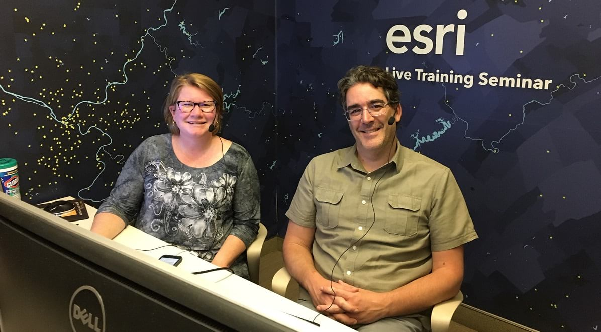ArcGIS QuickCapture Live Training Seminar Danielle Hopkins and Ismael Chivite at the Esri Studio