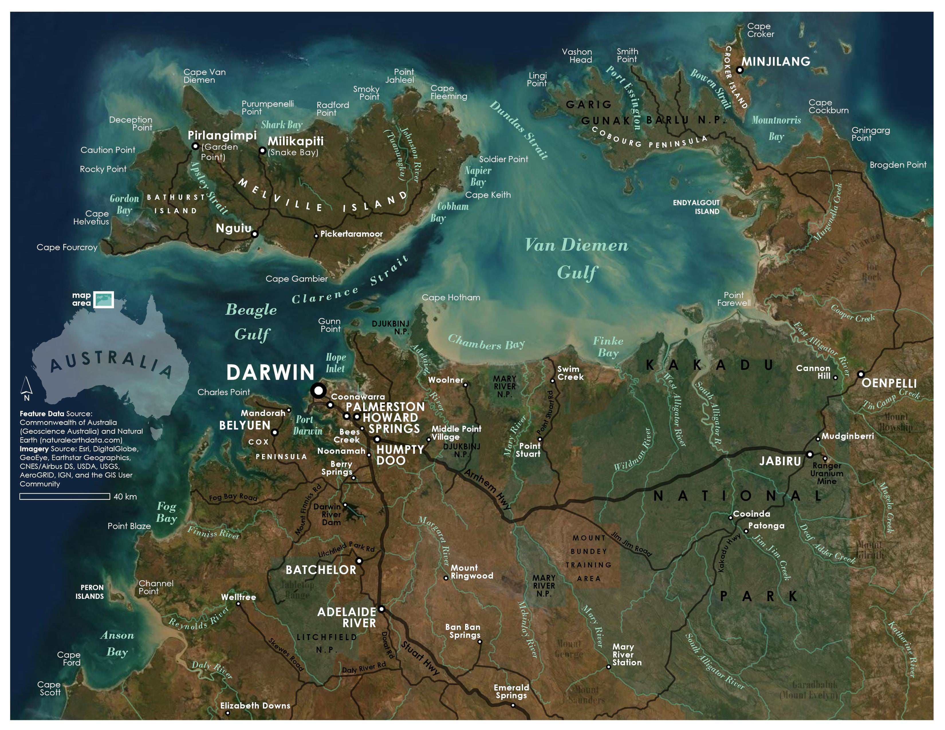 Map of Darwin, Australia and surrounding area