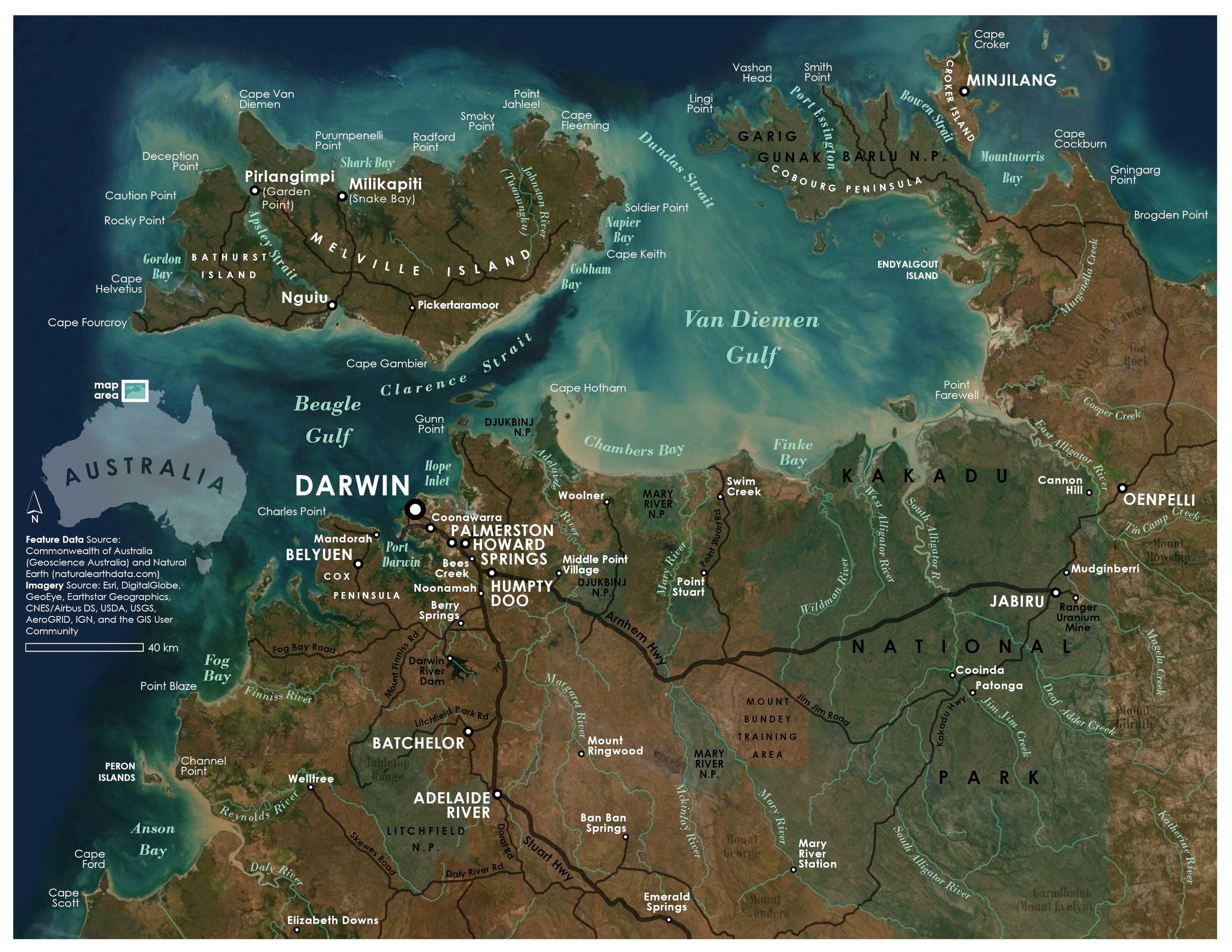 Map of Darwin, Australia and surrounding area