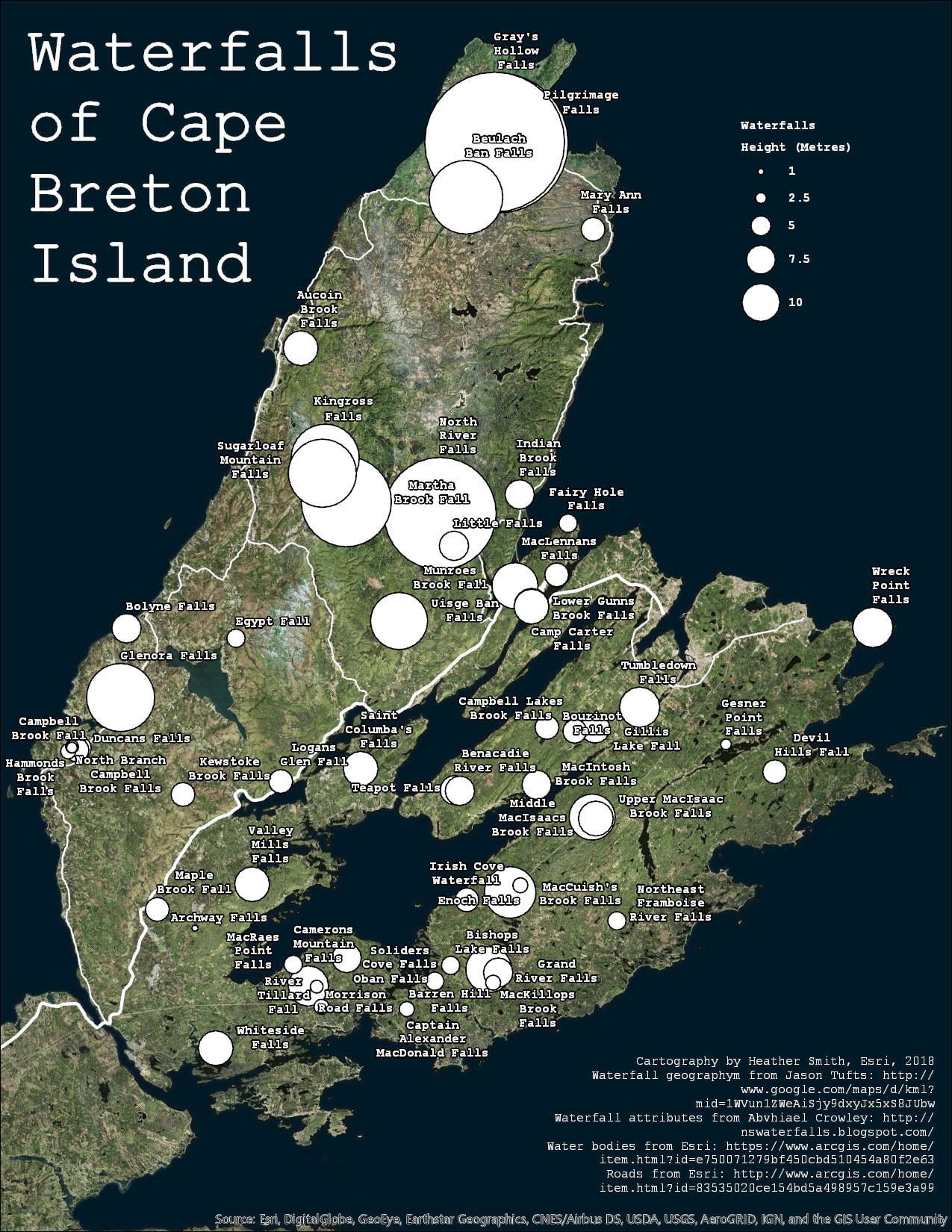 Starting map of Waterfalls of Cape Breton Island