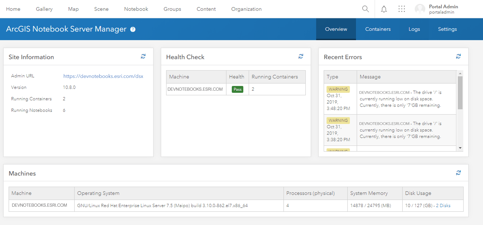 Image of the Overview page of the Notebook Server manager app