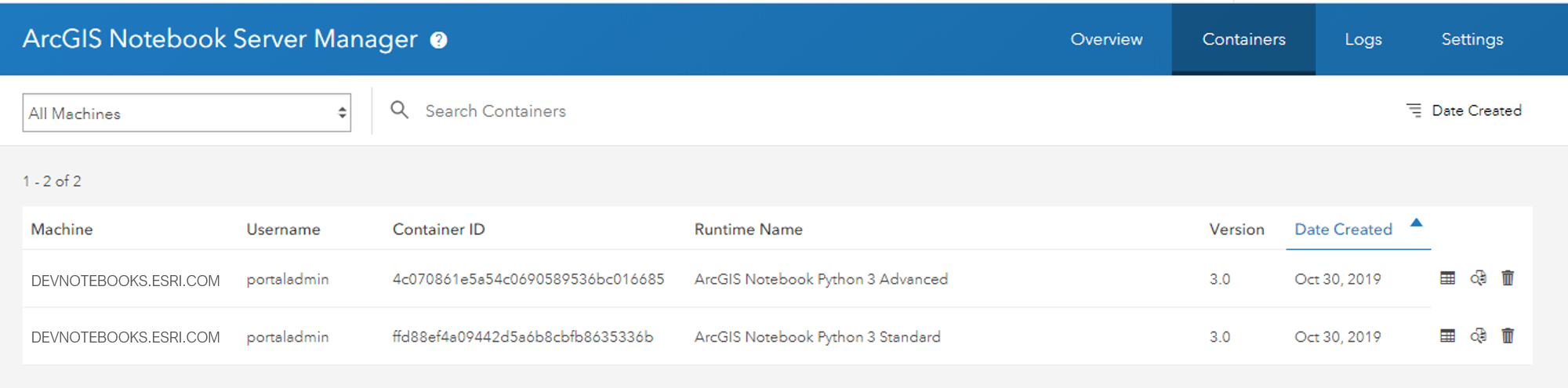 Image of the Containers page in the Notebook Server Manager app