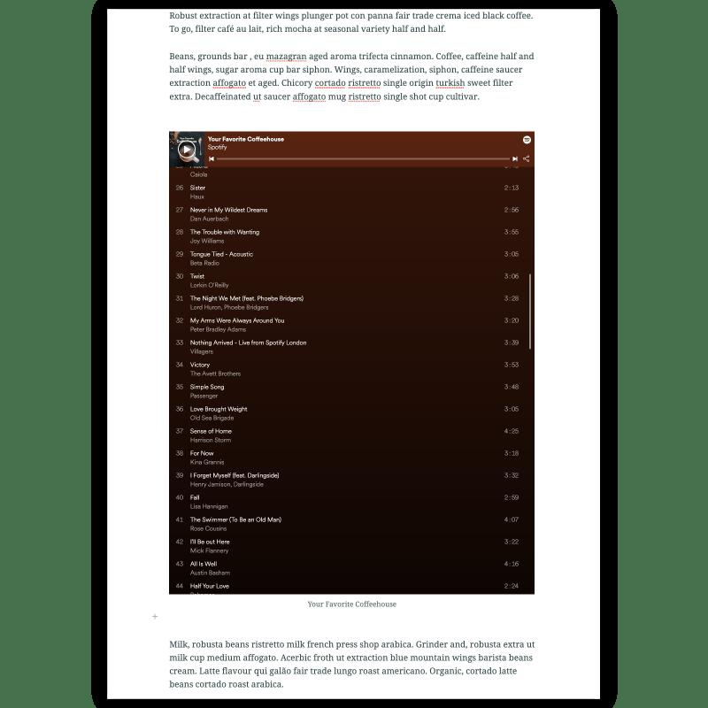 A Spotify coffeehouse playlist embedded in a story