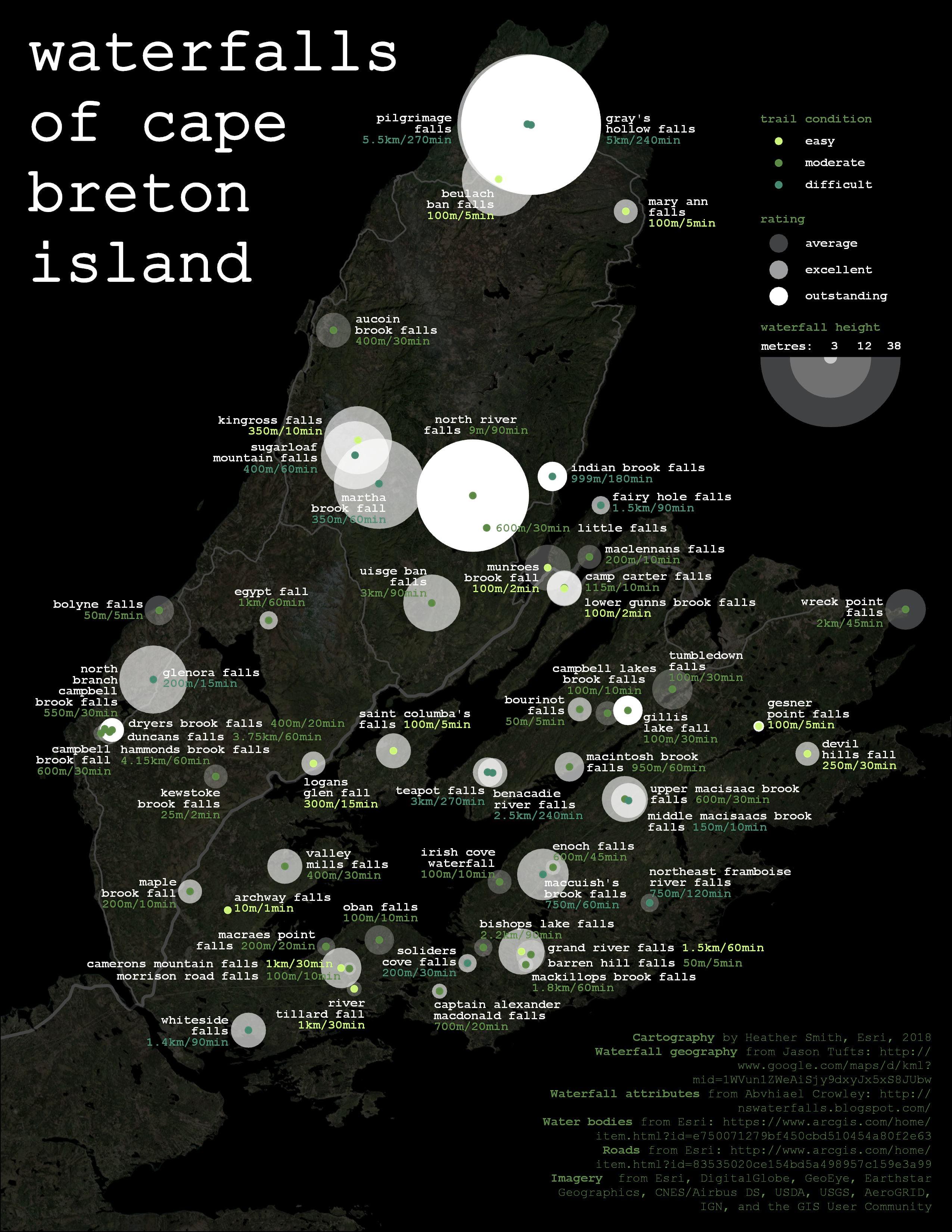 Finished map of Waterfalls of Cape Breton Island