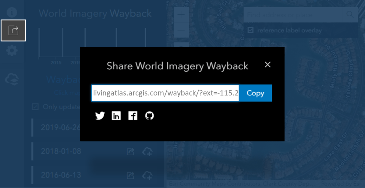 Wayback app sharing dialogue