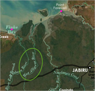 West Alligator River label on map