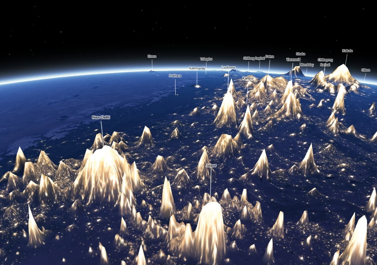 3D map of light pollution