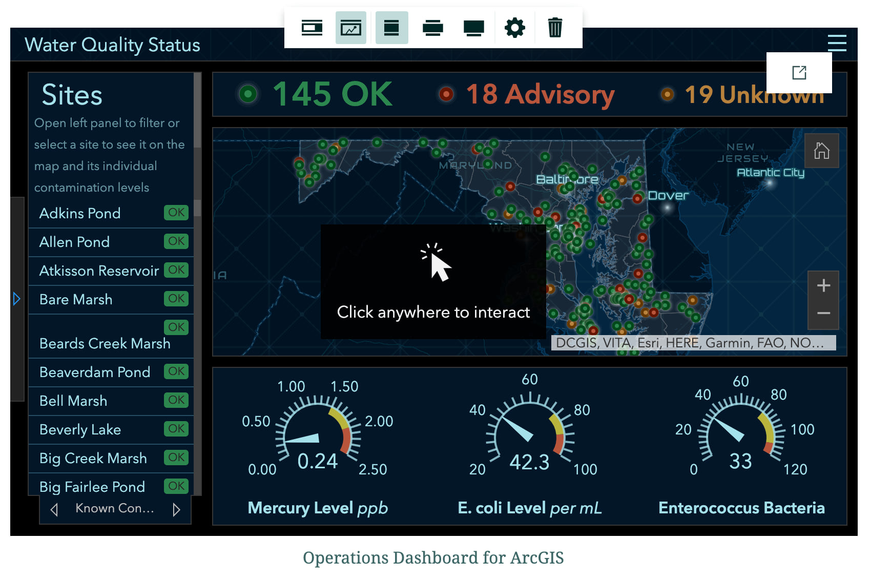 A live Operations Dashboard embed inserted into a story map
