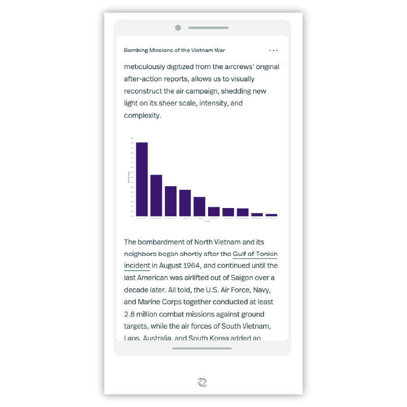 A view of the mobile preview for a story where an interactive chart is replaced with an image