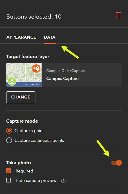 QuickCapture Data tab