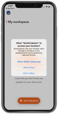Allow QuickCapture to access location