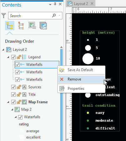 Remove legend item using the context menu