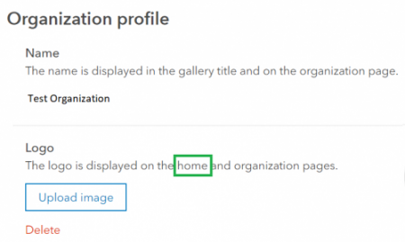 "The word ""home"" is included in the Logo section of the Organization profile setting."