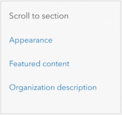 Example of side navigation links from the Home page settings page.