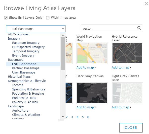 Browse Living Atlas Layers in ArcGIS Online