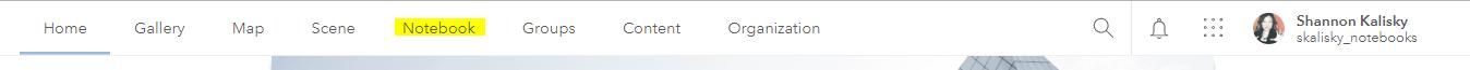 ArcGIS Online top navigation
