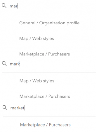 "Example of how the term ""market"" returns fewer results as the word is more complete."