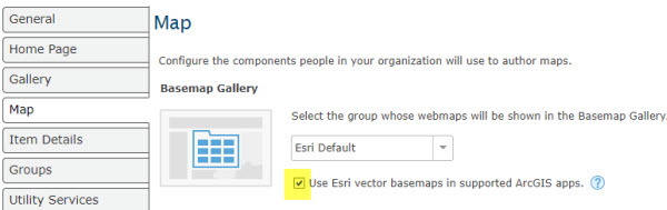 Default Esri Vector Basemap Gallery