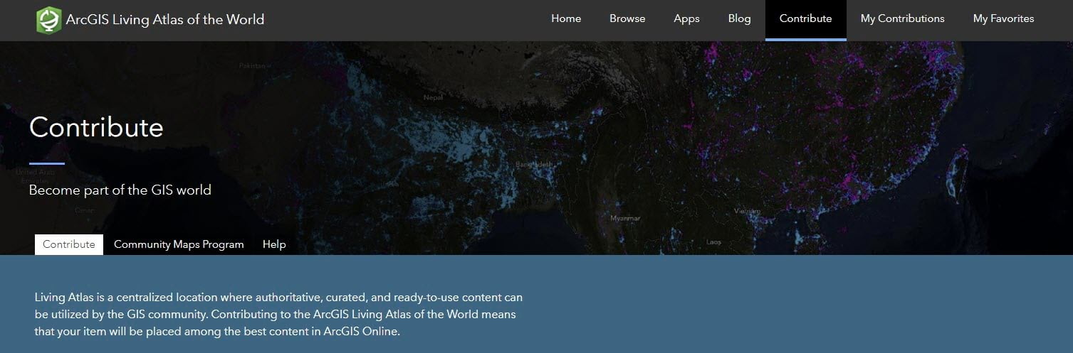 Screenshot of ArcGIS Living Atlas of the World's Contribute tab.