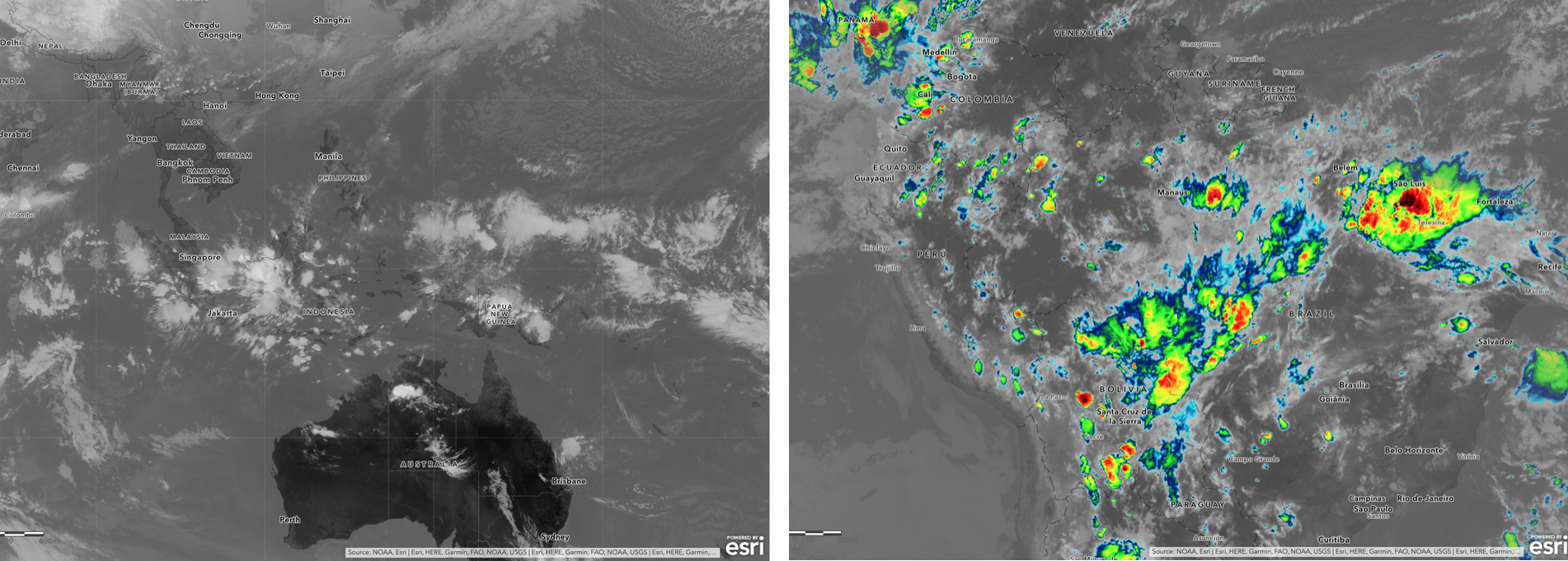NOAA's infrared satellite imagery (black and white image) next to NOAA's colorized infrared satellite imagery (color image).