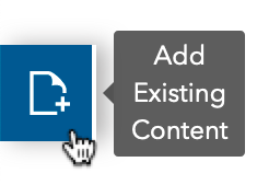 screenshot of add existing content button in the Hub content library