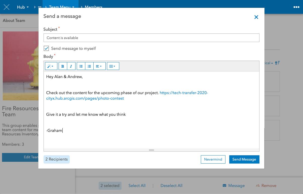 emailing team members screenshot