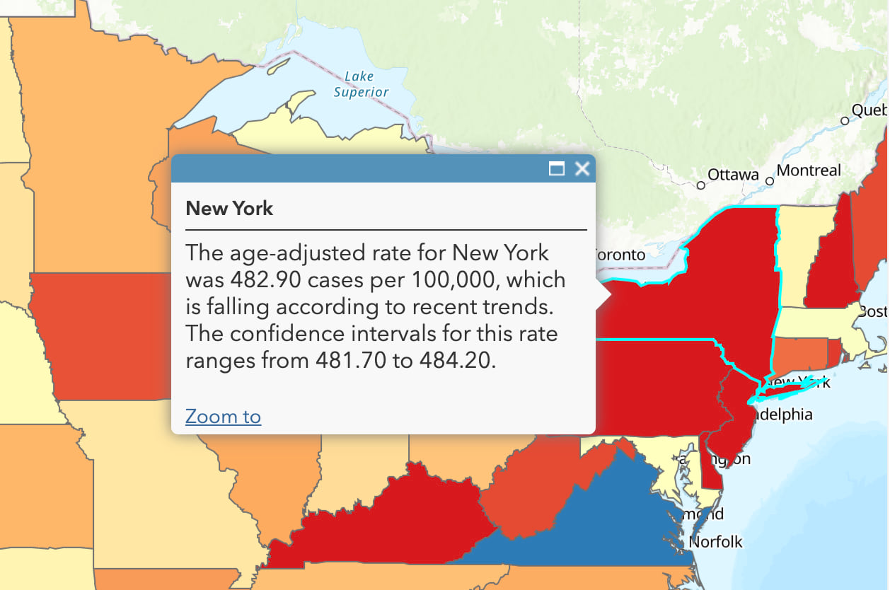 "Pop-up for New York reads ""The age-adjusted rate for New York was 482.90 cases per 100,000, which is falling according to recent trends. The confidence intervals for this rate ranges from 481.70 to 484.20."""