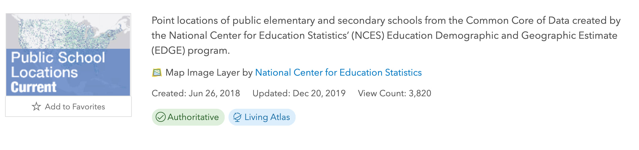 Item card in ArcGIS Online for Map Image Layer by National Center for Education Statistics - point locations of public elementary and secondary schools