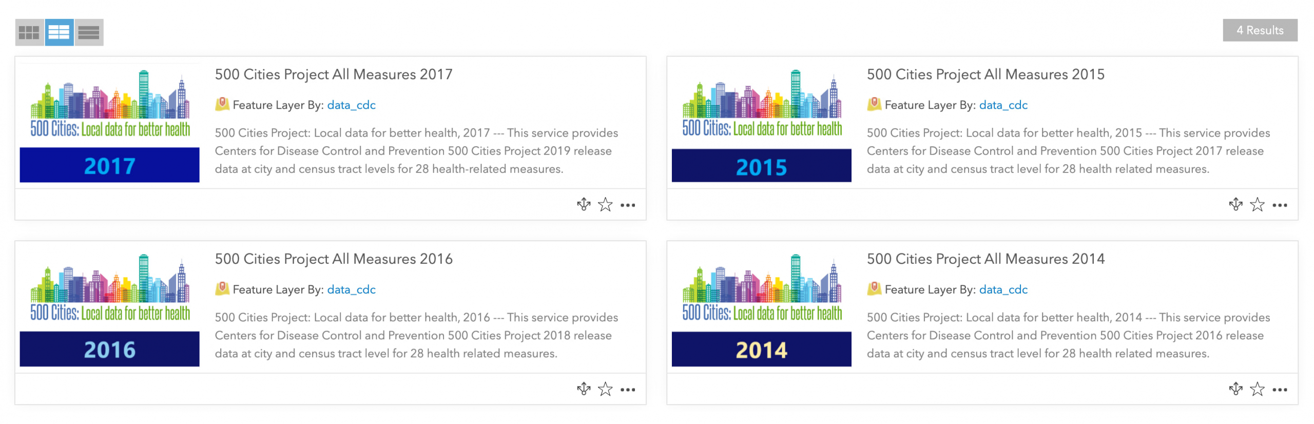 Screenshot of 4 items from CDC's 500 Cities Project coming up in Living Atlas search.