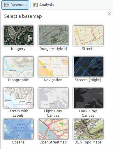 Select a basemap