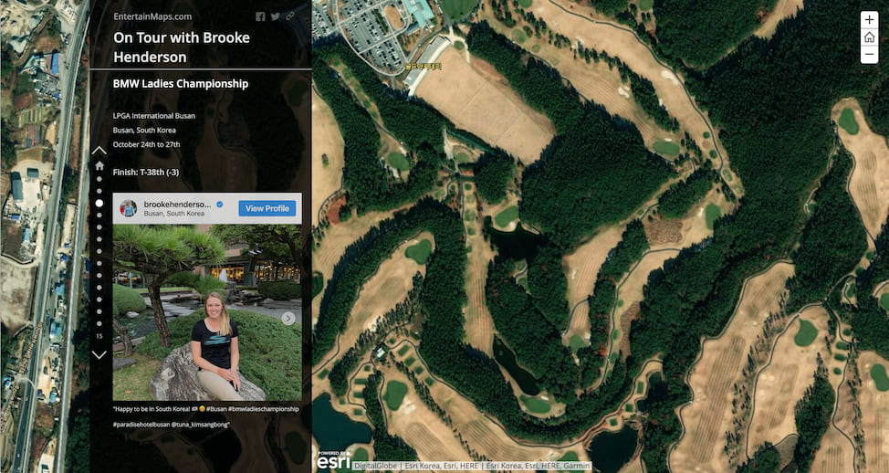 A Story Map Journal with a floating narrative panel on the left and satellite imagery of a golf course on the right