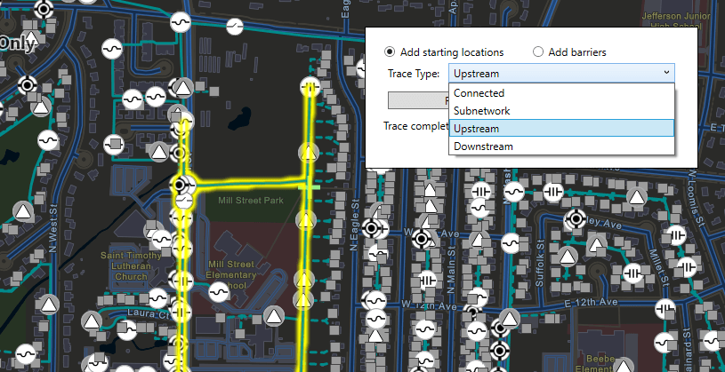 Utility network demo UI showing all trace options (Connected, Subnetwork, Upstream and Downstream)