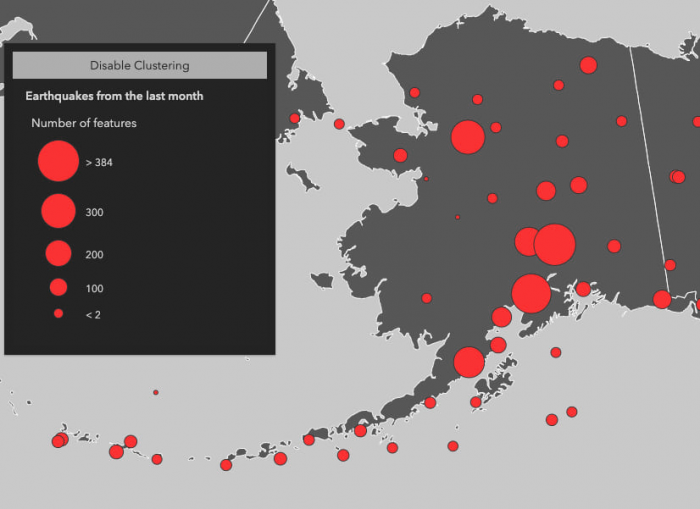 The state of Alaska with earthquakes visualized in clusters to show areas where earthquakes occur more frequently.
