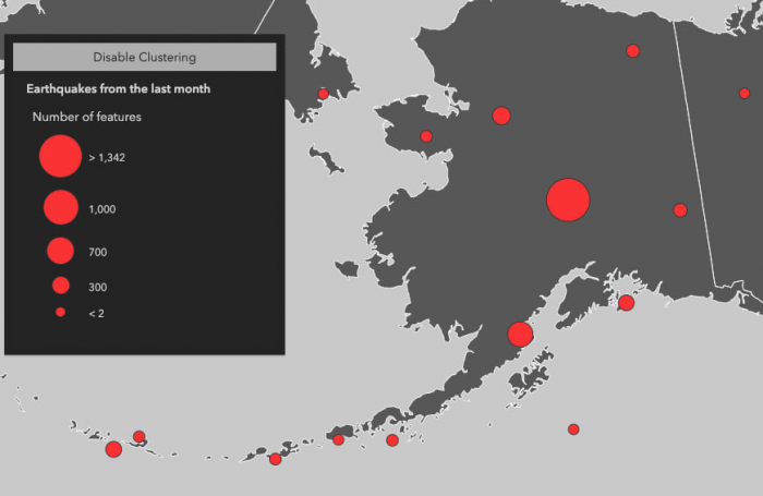 The state of Alaska with earthquakes visualized in larger clusters to show areas where earthquakes occur more frequently.