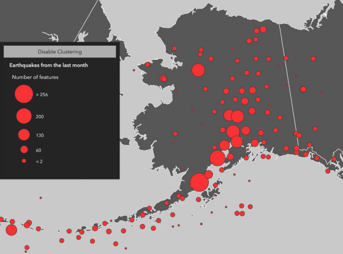 The state of Alaska with earthquakes visualized in smaller clusters to show areas where earthquakes occur more frequently.