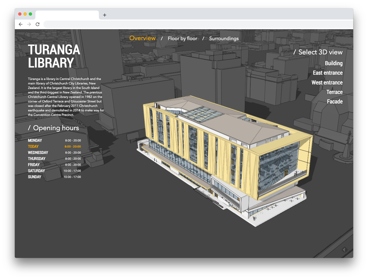 Building Viewer web site configured with Turanga Library building
