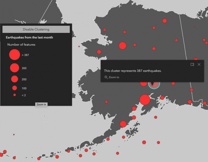 The state of Alaska with earthquakes visualized in clusters to show areas where earthquakes occur more frequently. An open popup is displayed showing the number of earthquakes represented by one of the clusters.