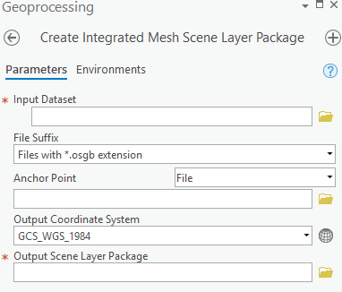 Create Integrated Mesh Scene Layer Package Tool