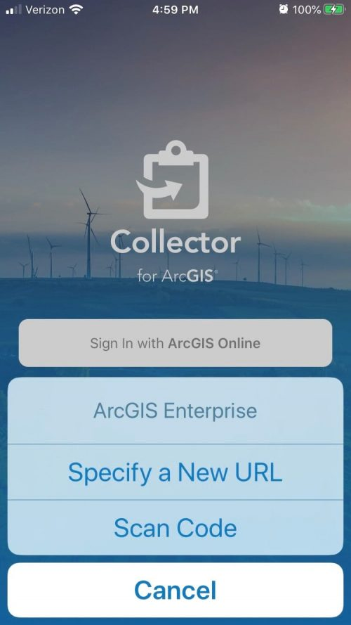 Collector for ArcGIS sign-in.
